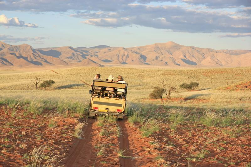 A group of turists during a namibian safari